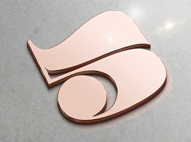 Numerical Digit Five Pendant in 14k Rose Gold