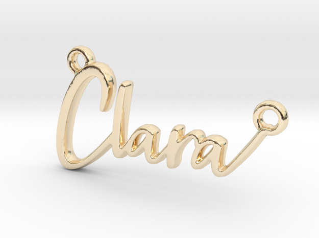 Clara First Name Pendant in 14k Gold Plated Brass