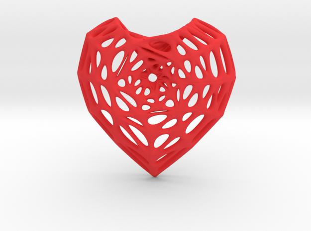 Horn Torus Heart Earring (001) in Red Processed Versatile Plastic