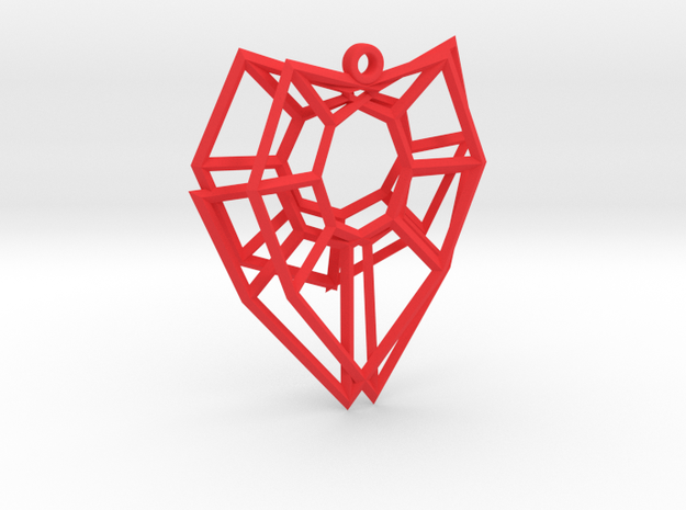 Henneberg Surface Heart Earring (002) in Red Processed Versatile Plastic