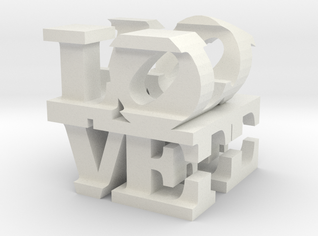 "love/life - medium (3"") in White Natural Versatile Plastic"