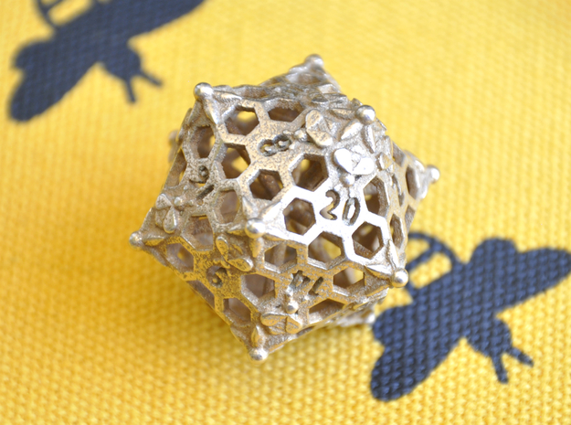 D20 Balanced - Bees in Polished Bronzed-Silver Steel