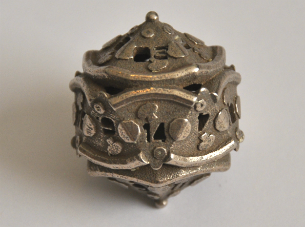 D20 Balanced - Pizza in Polished Bronzed-Silver Steel