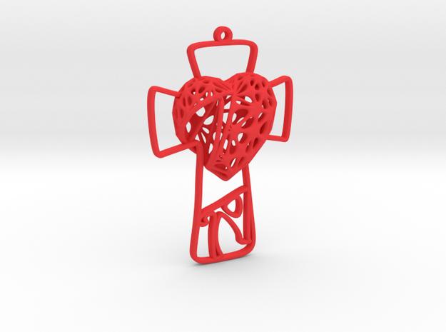 Voronoi Broken Heart + Cross Earring (001) in Red Processed Versatile Plastic