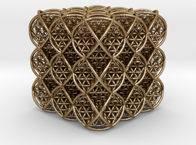 Cube of Life 3 x 3 x 3 in Polished Gold Steel