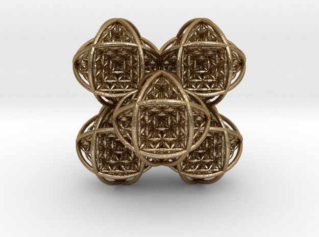 Flower of Life Stack 7 in Polished Gold Steel
