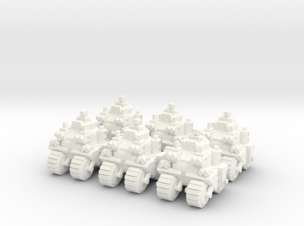 6mm - Urban Assault Buggies x 6 in White Processed Versatile Plastic