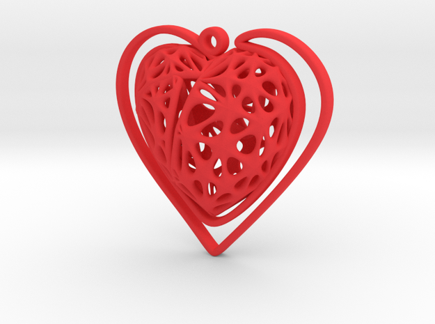Voronoi Heart + Heart Earring (003) in Red Processed Versatile Plastic