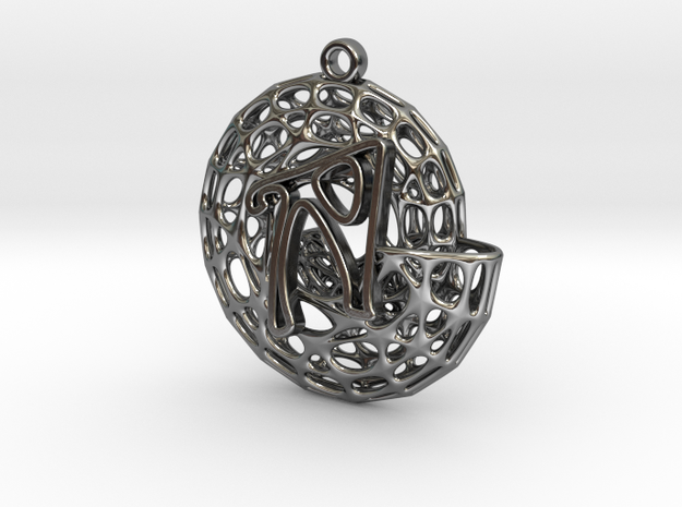 Voronoi Shell Pendant (002) in Fine Detail Polished Silver