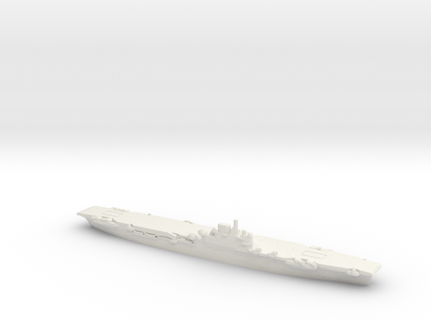British Illustrious-Class Aircraft Carrier in White Natural Versatile Plastic: 1:1800