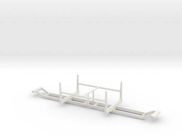 1/50th Short log conversion aka Hayrack trailer in White Natural Versatile Plastic