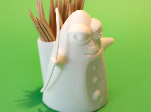 Archer Toothpick Holder  in White Natural Versatile Plastic