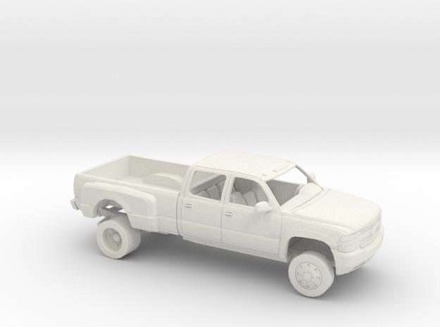 1/64 1999-02 Chevrolet Silverado CrewCab Dually in White Natural Versatile Plastic