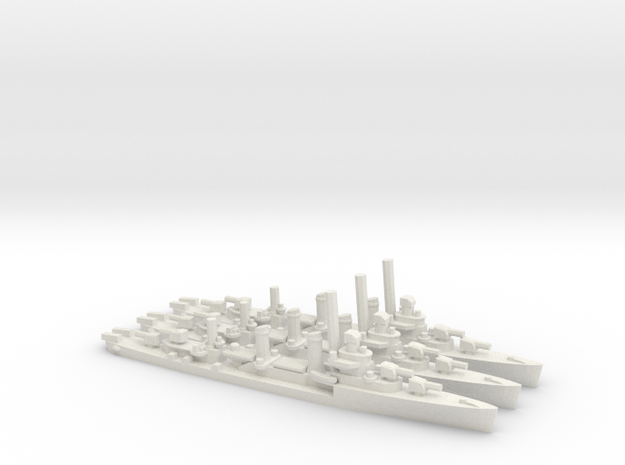 US Benson-Class Destroyer (x3) in White Natural Versatile Plastic