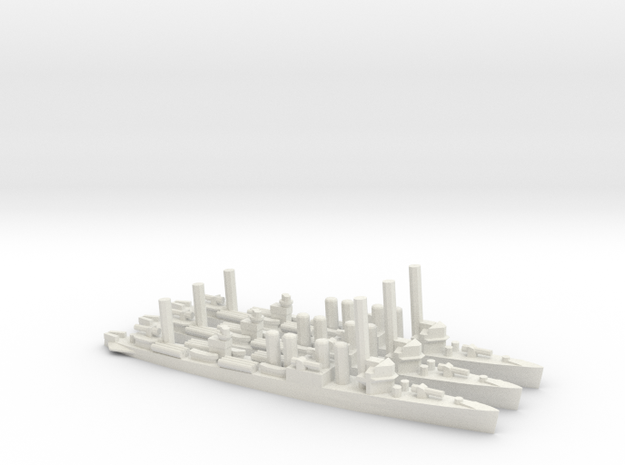 US Clemson-Class Destroyer in White Natural Versatile Plastic: 1:1800