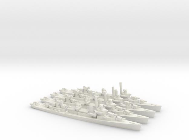 US Fletcher-Class Destroyer (v1) (x4) in White Natural Versatile Plastic