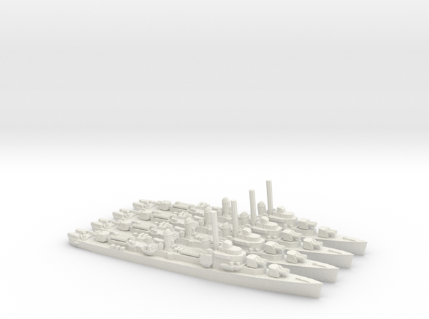 US Gearing-Class Destroyer (x4) in White Natural Versatile Plastic