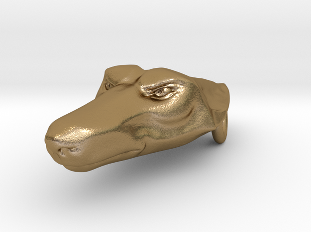 Wolf Head Pendant 3d printed Polished gold