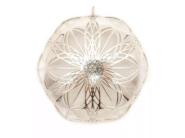 Seed of Life Pendant - from the Flower of Life in 18k Gold Plated Brass