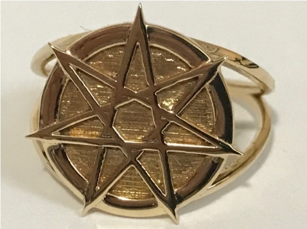 Dramatic Fairy star ring in Polished Brass: 7 / 54