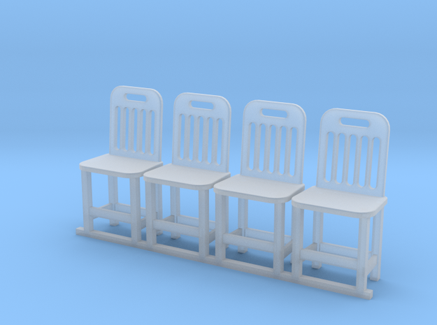 4 chaise bois echelle O in Smooth Fine Detail Plastic: 1:43