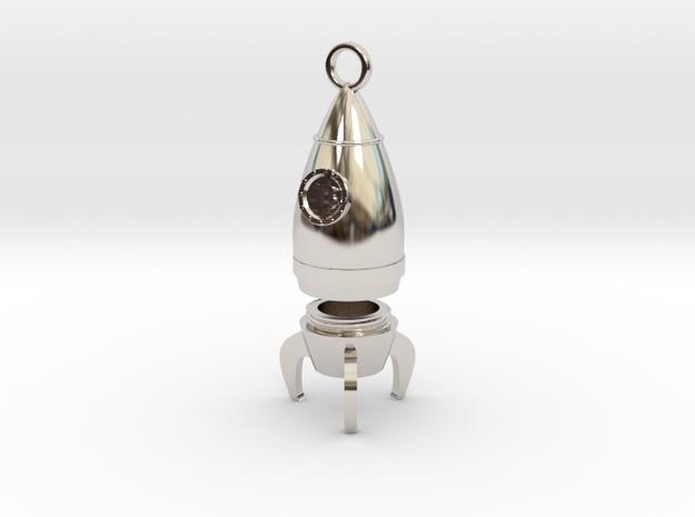 Bitcoin Rocket Pendant -- Type - 1B  in Rhodium Plated Brass