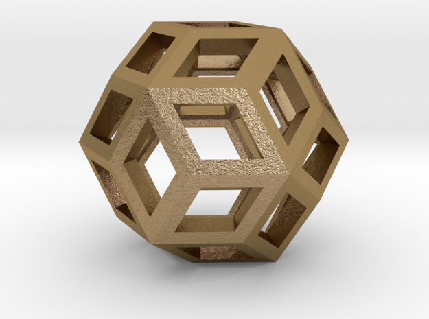 Rhombic Triacontahedron 4cm in Polished Gold Steel