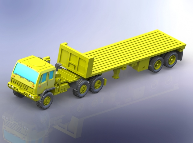M1088 Tractor w.  M871 Flatbed Trailer 1/144 in Smooth Fine Detail Plastic