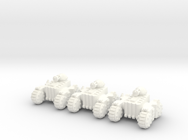 6mm - Light Gatling Tank in White Processed Versatile Plastic