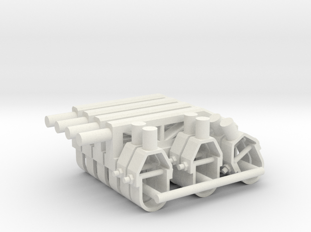 """1:18 Scale Pipe Hangers Pack: 1/4"""" 0.25"""" in White Natural Versatile Plastic"""