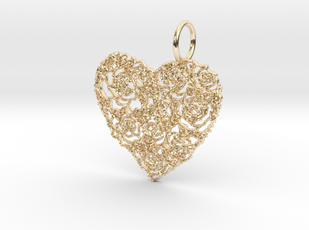 Love ShapePendant in 14k Gold Plated Brass