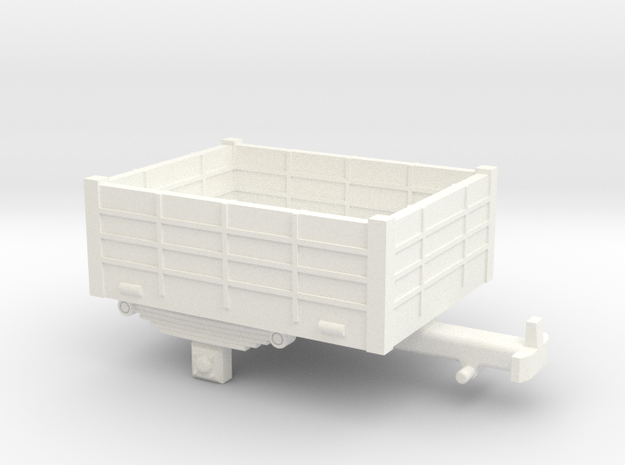Single-axle open trailer in White Processed Versatile Plastic