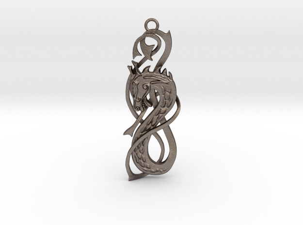 Nordic Dragon pendant in Polished Bronzed-Silver Steel