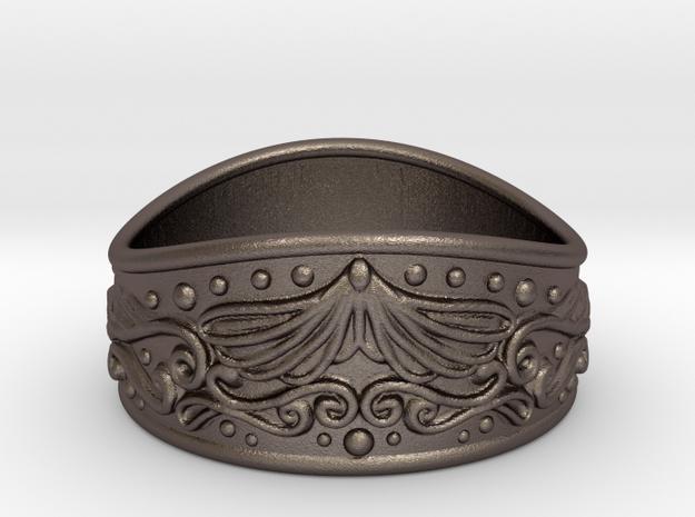 Knight bracelet (steel) in Polished Bronzed-Silver Steel: Medium