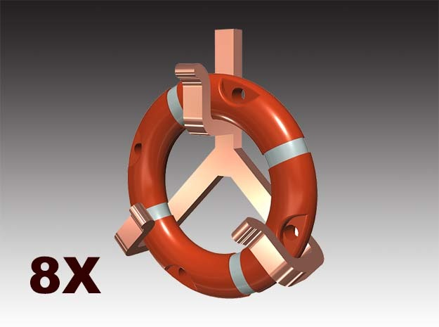 Life ring buoy 75 cm - 1:50 - 8X in Smooth Fine Detail Plastic