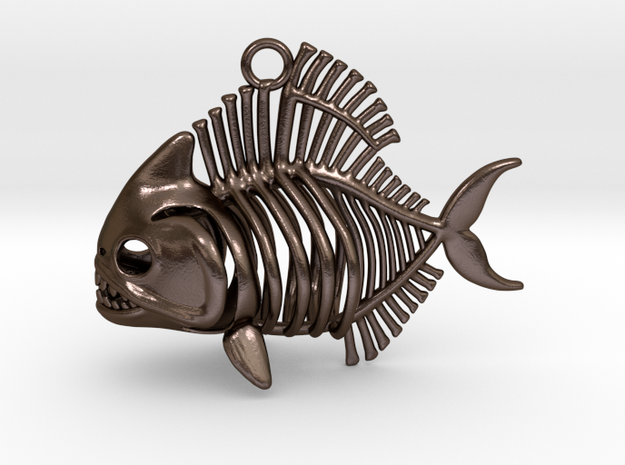 Piranha Pendant in Polished Bronze Steel