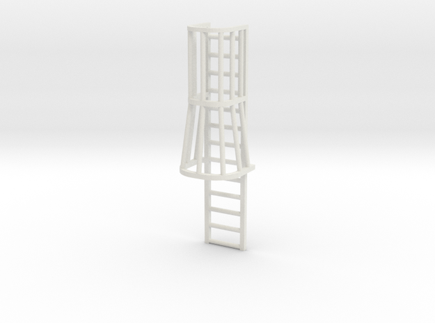 "1/64 ""S"" Scale Ladder Cage with Taper   in White Natural Versatile Plastic"