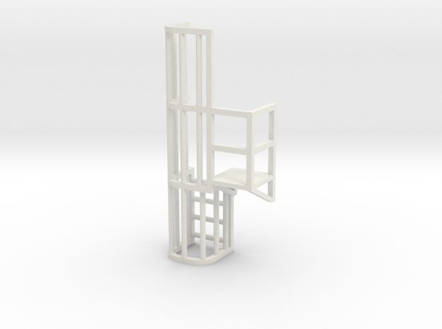 Ladder Cage Platform Right in White Natural Versatile Plastic
