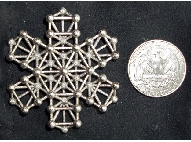 Snowflake of Life 3d printed Polished Nickel Steel