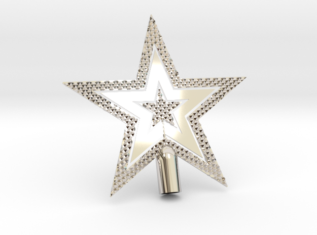 "Star Glisten Tree Topper - 10cm 4""  in Rhodium Plated Brass"