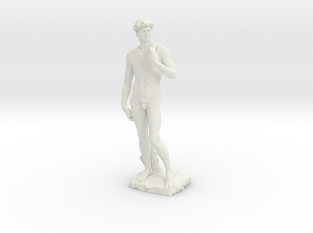 "David Sculpture Replica (~15.5"" Tall) in White Natural Versatile Plastic"