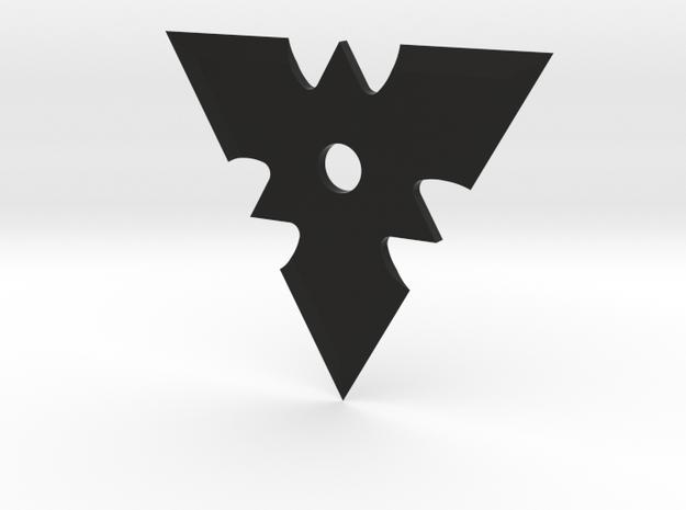Tri Shuriken in Black Natural Versatile Plastic: Medium
