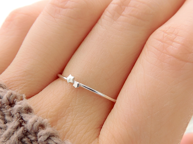 Twin Star Ring (Multiple Sizes) in Polished Silver: 6 / 51.5