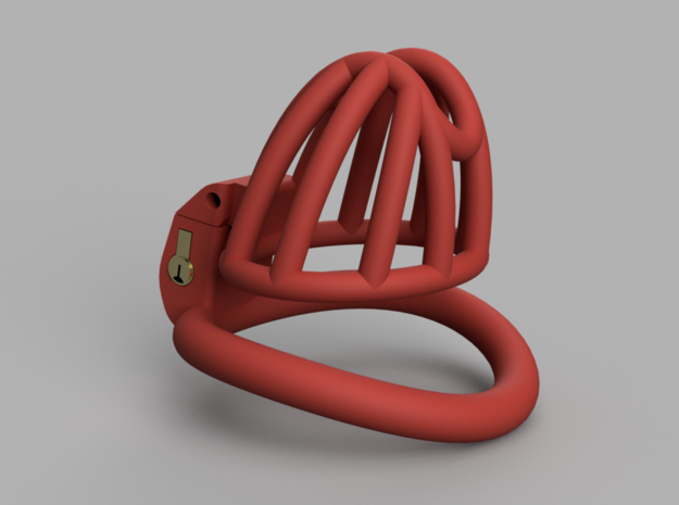 Cherry Keeper Cage - Small Wide in Red Processed Versatile Plastic