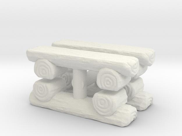 Log Bench (x4) 1/35 in White Natural Versatile Plastic