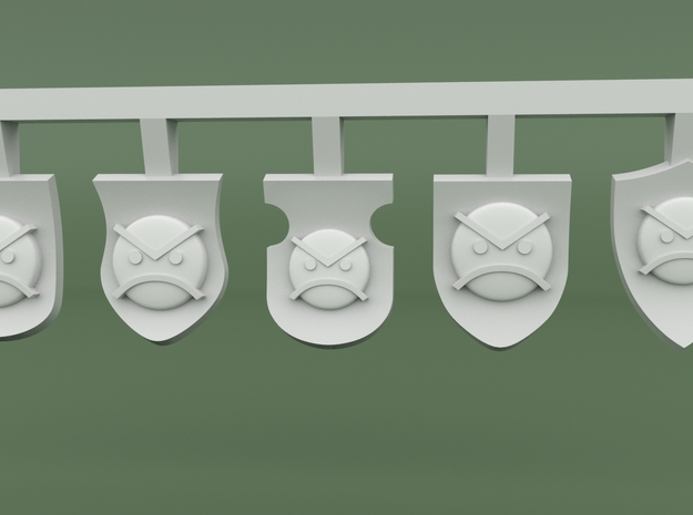 Angry Marine Small Shields - Angry Marine Icon in Smooth Fine Detail Plastic
