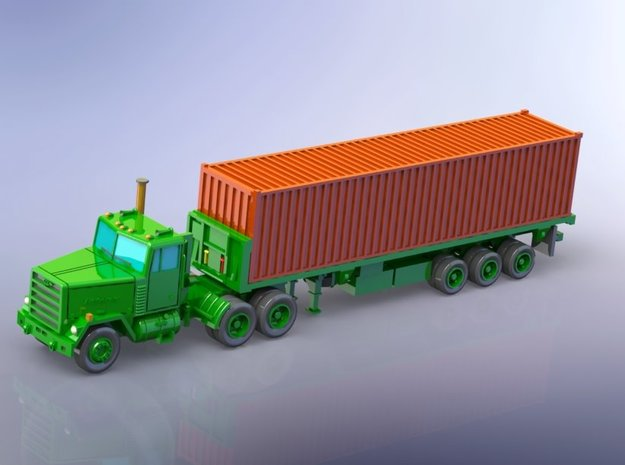 M915 Tractor w. M872 Semitrailer & Container 1/160 in Smooth Fine Detail Plastic