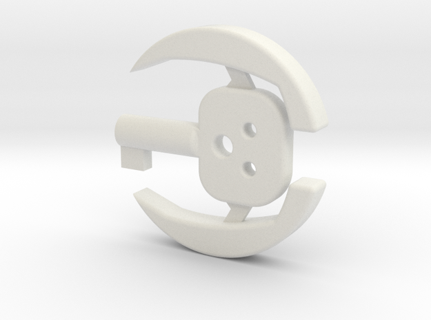 Concealed Cuff Key in White Natural Versatile Plastic