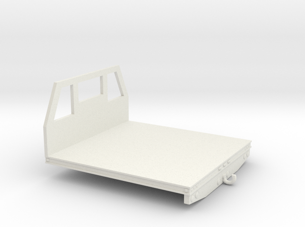 1/64th Utility type flatbed, 8' wide in White Natural Versatile Plastic