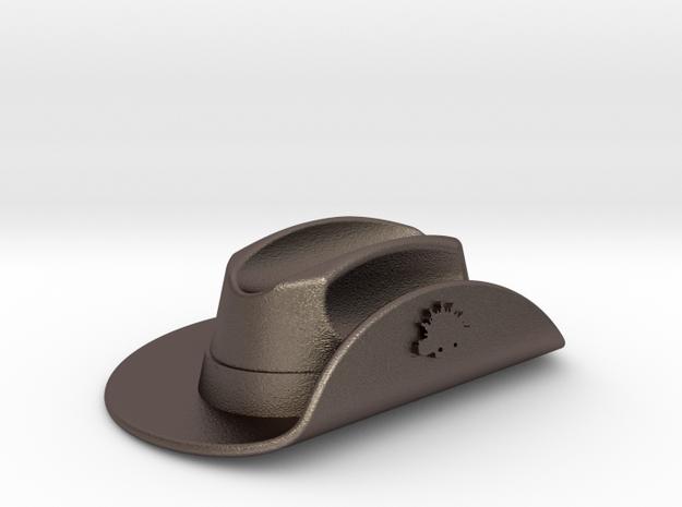 Australian WW1 Slouch Hat Gallipoli Keyring in Polished Bronzed Silver Steel